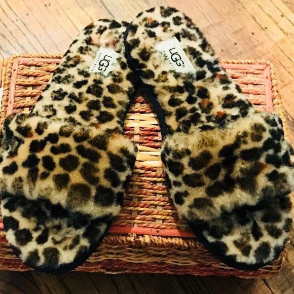 08b5b3336 UGG Leopard Fluff Slide Slippers - Size 8. M_5aa1a46446aa7c6ab0316b47